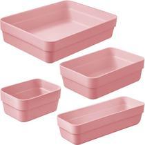 Kit 4 Organizador De Gavetas Para Armario Cozinha Ou Quarto Rosa Quartzo -