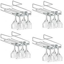 Kit 4 Organizador suporte porta taça suspenso de encaixe aço cromado - Arthi