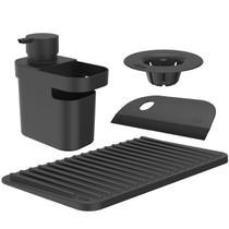Kit 4 Organizadores De Pia Dispenser Rodinho Filtro Para Ralo E Escorredor De Copos Preto OU -