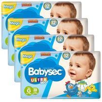 Kit 4 Pacotes Fralda Babysec Ultrasec Mega G c/ 38 un - Baby Sec -