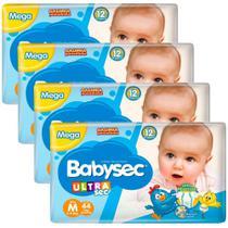 Kit 4 Pacotes Fralda Babysec Ultrasec Mega M c/ 44 un - Baby Sec -