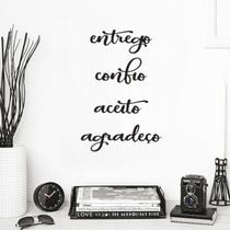 Kit 4 Palavras Positivas Entrego Confio Aceito Agradeço em Mdf Preto Aplique Decorativo Enfeite Quarto Sala - Mongarte decor