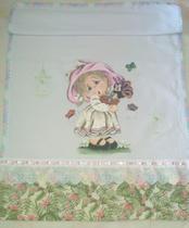 kit 4 panos de prato pintados a mão, com barrado em tecido e laterais em crochê - Amo Artes