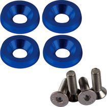 Kit 4 Parafusos De Placa E 4 Argolas Azul Universal - P2 ACESSÓRIOS