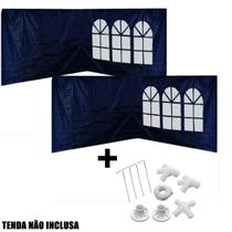 Kit 4 Paredes Laterais Azul + Kit Conectores Indicado Tenda Gazebo 3x3 Metros  Mor