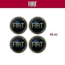 Kit 4 peças Adesivo Calota Fiat 49mm Azul -