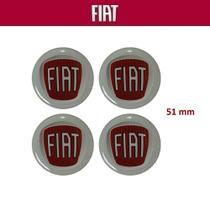 Kit 4 peças Adesivo Calota Fiat 51mm Vermelho -