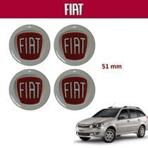 Kit 4 peças Adesivo Calota Fiat Weekend 51mm Vermelho -
