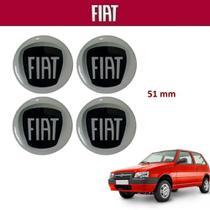 Kit 4 peças Adesivo Central Calota Fiat Uno 5,1cm Preto -
