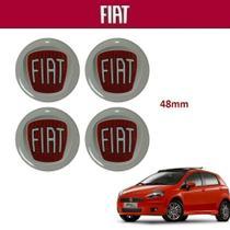 Kit 4 peças Adesivo Vermelho da Calota Fiat Punto 48mm -