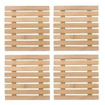 Kit 4 Peças descanso de Panela em Bambu Quadrado 17Cm - Yazi - Wincy
