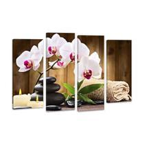 Kit 4 Peças Quadro Flores Orquídea Decorativo - Arte A Jato