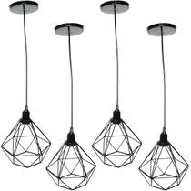 Kit 4 Pendente Aramado Diamante Luminária Lustre Luxo Pequeno Teto Retrô Agp Ilumini Industrial -