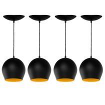 Kit 4 Pendentes Bola (Preto Textura / Amarelo) - Shop Da Iluminação