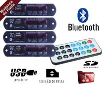 Kit 4 Placa P/ Amplificador - Modulo Usb Mp3 Bluetooth Pasta - Agf Imports