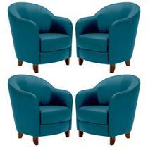 Kit 4 Poltronas Decorativas Sala de Estar Pés Madeira Kairós Couro Azul - Gran Belo -