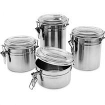 Kit 4 Potes Herméticos Redondos em Aço Inox Wellmix WX3883 -