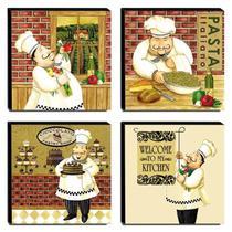 Kit 4 Quadros Cozinha Vintage Cozinheiro Canvas 30x30cm-COZ22 - Pró Canvas