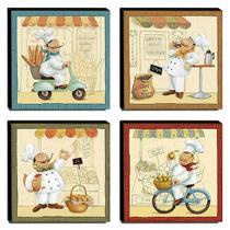 Kit 4 Quadros Cozinha Vintage Cozinheiros Canvas 30x30cm-COZ11 - Pró Canvas