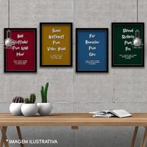 Kit 4 Quadros Decorativos Harry Potter As 4 Casas - Frases - A3 - Arte Laminada Anti-Reflexo - Premium - Clube Dos Quadros