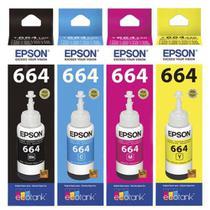 Kit 4 refis de tinta t664 originais preto e color l120/l200/l375/l395  epson -