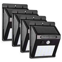 Kit 4 Refletor Solar Sensor Presença Movimento Placa Externo 30 Leds Parede Jardim Piscina Resistente Sol -