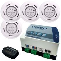 Kit 4 Refletores LED + Painel Controlador 24W 2 Saídas Auxiliares para Piscina VEICO FLUIDRA -