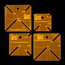 Kit 4 Réguas para Patchwork Canto Mitrado em cm e polegadas - Carrossel Da Arte
