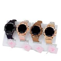 Kit 4 Relógios Feminino Digital Led Redondo Dourado Original Pulseira Silicone Atacado Revenda - Super Thunderbolt