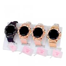 Kit 4 Relógios Feminino Digital Led Redondo Dourado Original Pulseira Silicone Atacado - Super Thunderbolt