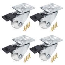 Kit 4 Rodízios Giratórios Para Móveis Rodinha Silicone Anti-risco 35mm Com Trava - HD -