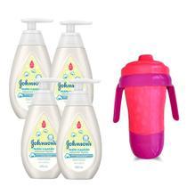Kit 4 Sabonetes Líquido Johnson's Recém Nascido 200ml + Copo de Transição Rosa e Roxo - Johnson'S Baby