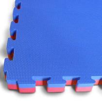 Kit 4 Tatames Tapetes EVA Dupla Face Azul e Vermelho Bicolor -
