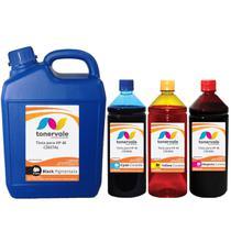 Kit 4 Tinta Compatível para Cartucho HP 46 - HP 2529 4729 5738 de 5 Litros Black e 1 Litro Color - Toner Vale