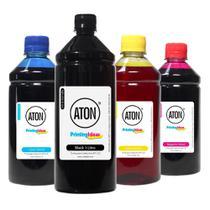 Kit 4 Tintas para Cartucho 122 Black 1 Litro Coloridas 500ml Aton -