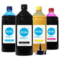 Kit 4 Tintas para Epson Bulk Ink Sublimática L606 CMYK 1 Litro Koga -