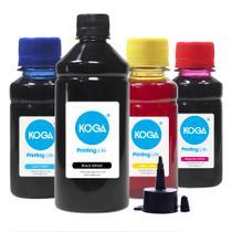 Kit 4 Tintas para Epson L120 Black 500ml Coloridas 100ml Corante - Koga