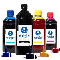 Kit 4 Tintas para L395 Ecotank Black 1 Litro Coloridas 500ml Corante Valejet -