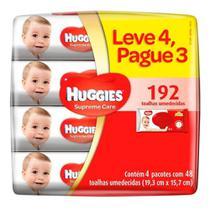 KIT 4 TOALHAS UMEDECIDAS HUGGIES SUPREME CARE - 48 unidades (Leve 4 Pague 3) -