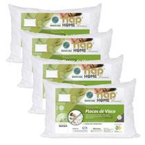 Kit 4 Travesseiros Nasa Premium Flocos de Visco Capa Impermeável - Nap Home -