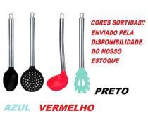 Kit 4 Utensílios de Silicone Cabo Inox Colher Concha Escumadeira Pegador de Macarrão - Quality House