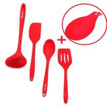 Kit 4 utensílios de silicone vermelho (Concha, Colher, Espatulas) + Suporte p/colher - Fratelli
