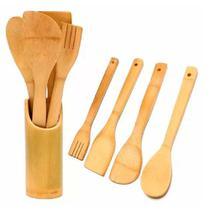 Kit 4 utensílios em bambu com suporte - Dolce Home -