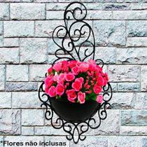 Kit 4 Vasos Arandela Plástico Plantas Colonial Suspenso Decorativo Horta Enfeite Jardim Cor: Preta - Comercial Montani Ltda Me