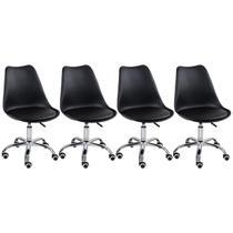 Kit - 4 x cadeiras de rodízios estofadas Tulipa - Office - Escritório - Loft7