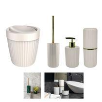 Kit 4pçs Banheiro Lixeira 5L Basculante Suporte Porta Escovas Dispenser Sabonete - Ou -
