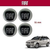 Kit 4un Adesivo Central Calota Fiat Weekend 5,1cm Preto -