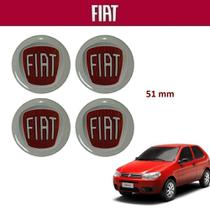 Kit 4un Adesivo Vermelho da Calota Fiat Palio 51mm -