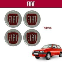 Kit 4un Adesivo Vermelho da Calota Fiat Uno 4,8cm -