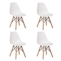 Kit 4uni Cadeira Eames Eiffel Base Madeira Branca -